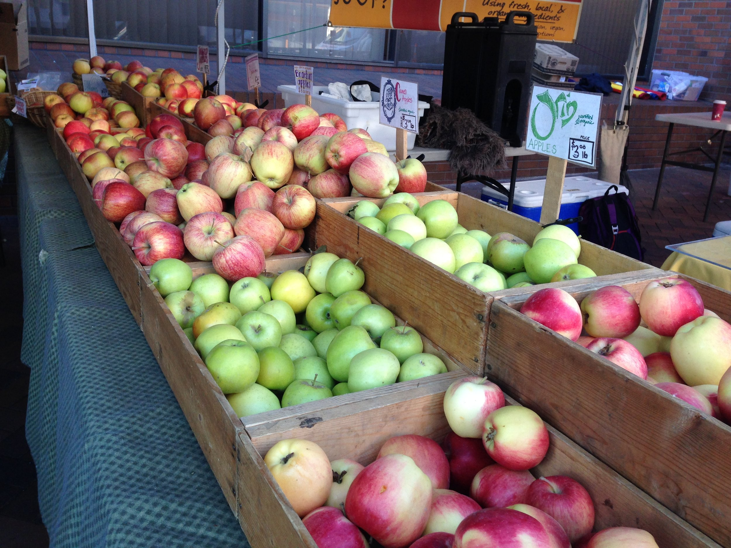 just one of the many Farmer Market Stands, with so many different variety of apples!