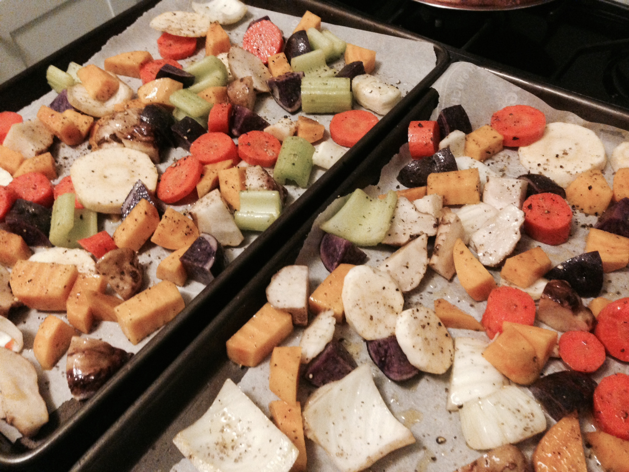 Mixed veggies, very colorful; and ready for the oven.