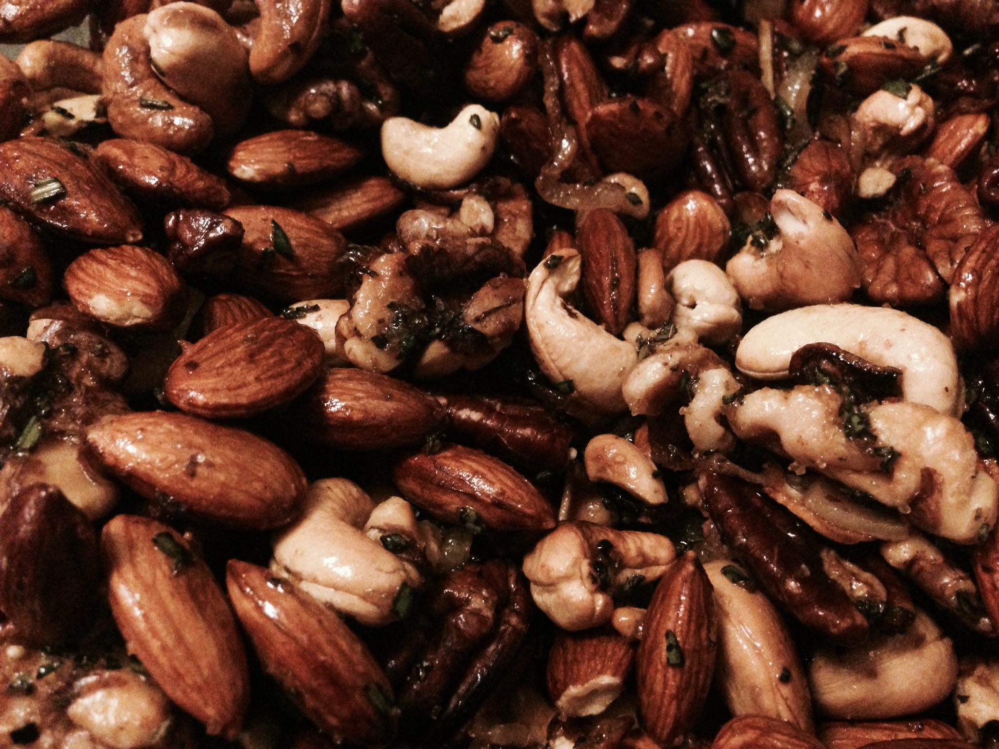 Warm Rosemary, Shallot, and Garlic Mixed Nuts