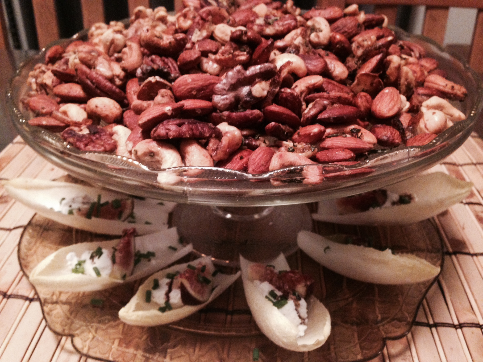 Holiday worthy appetizers: Warm Rosemary, Shallot, and Garlic Mixed Nuts & Fresh Endive Boats