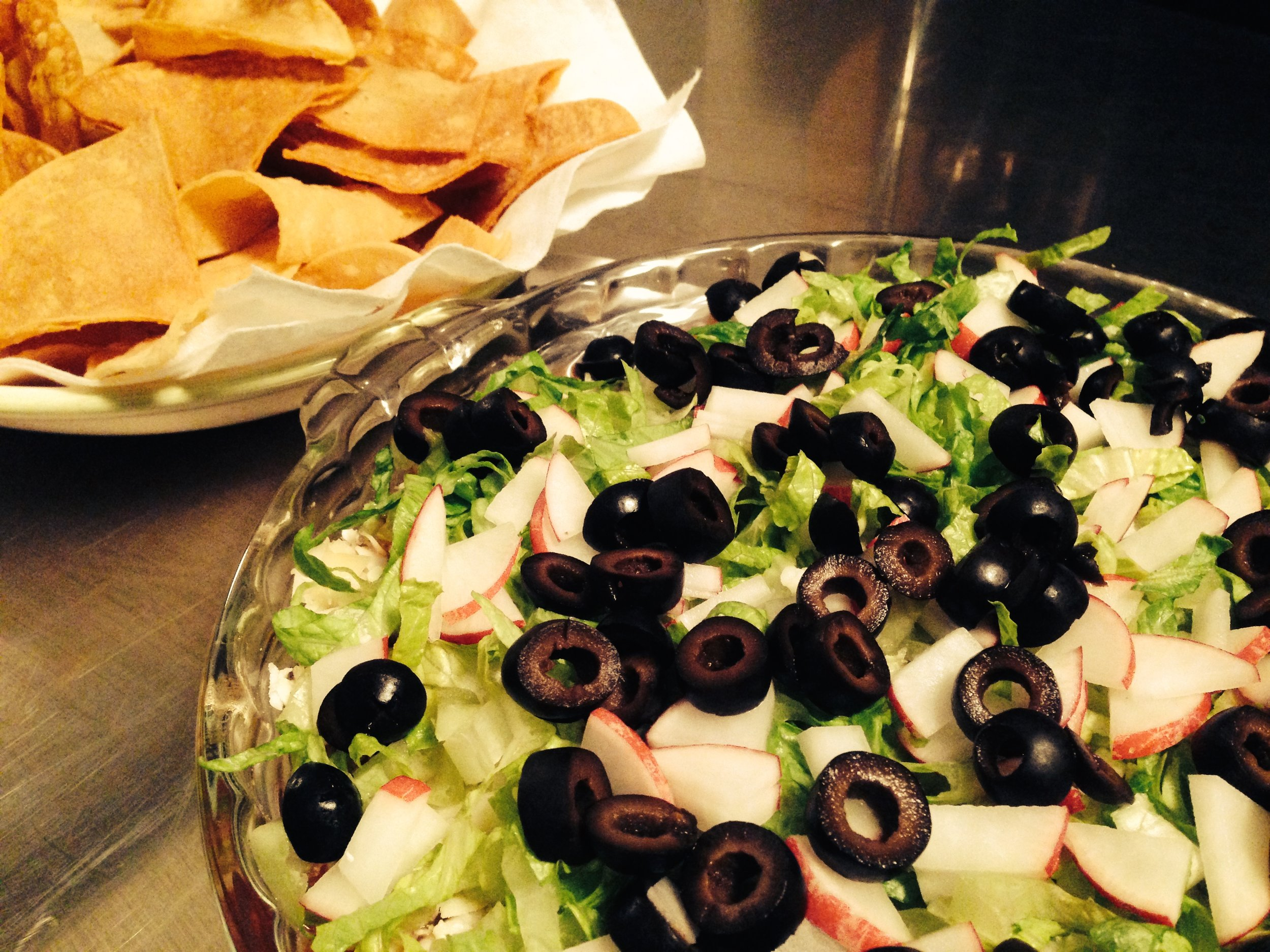 Layer Dip with Tortilla Chips