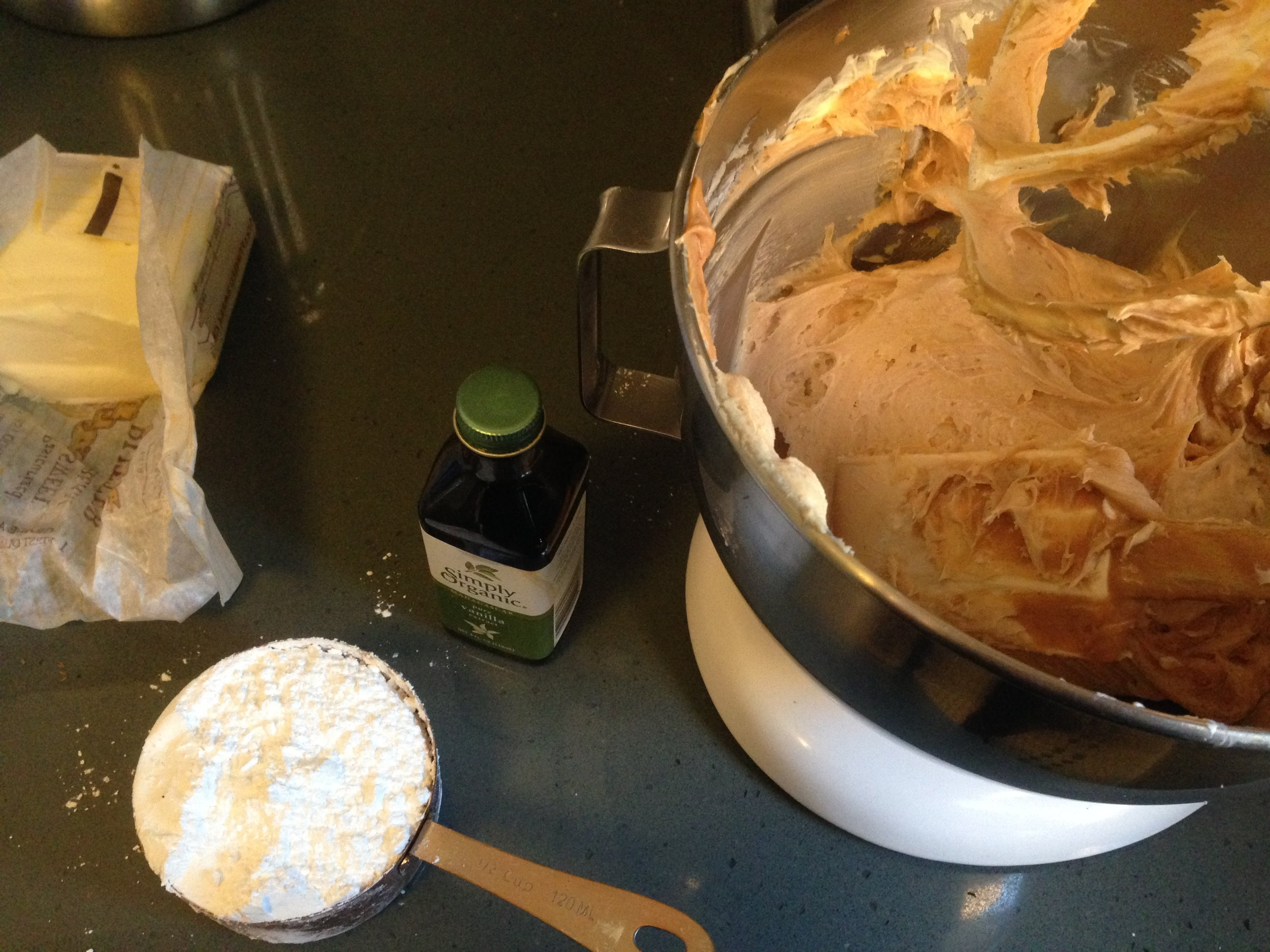 The makings of really good peanut butter cream cheese icing.