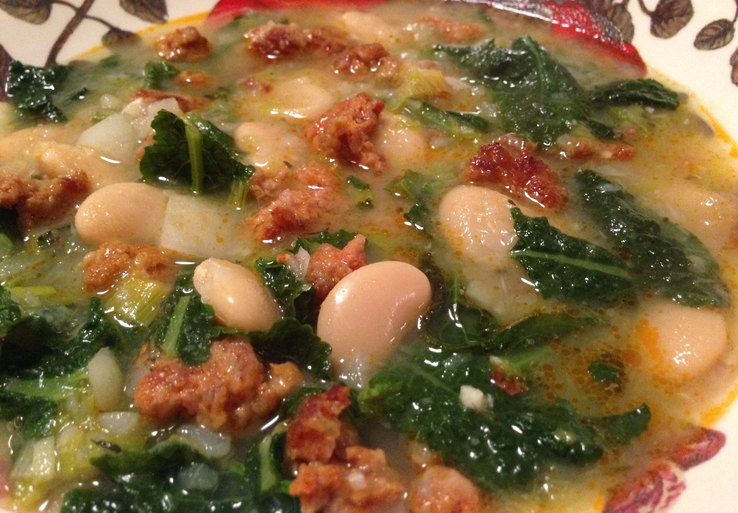 Warm and cozy Potato, Kale, and Bean Soup with Chorizo.