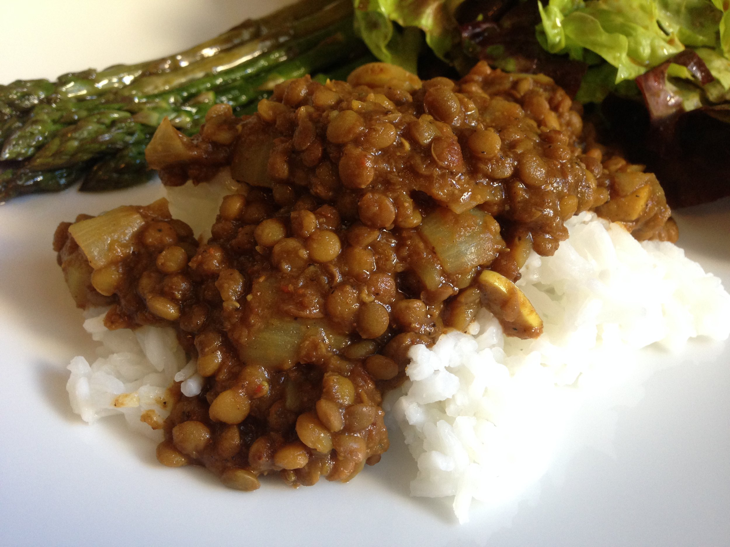 Lentil Stew in Berbere Spice over Rice.