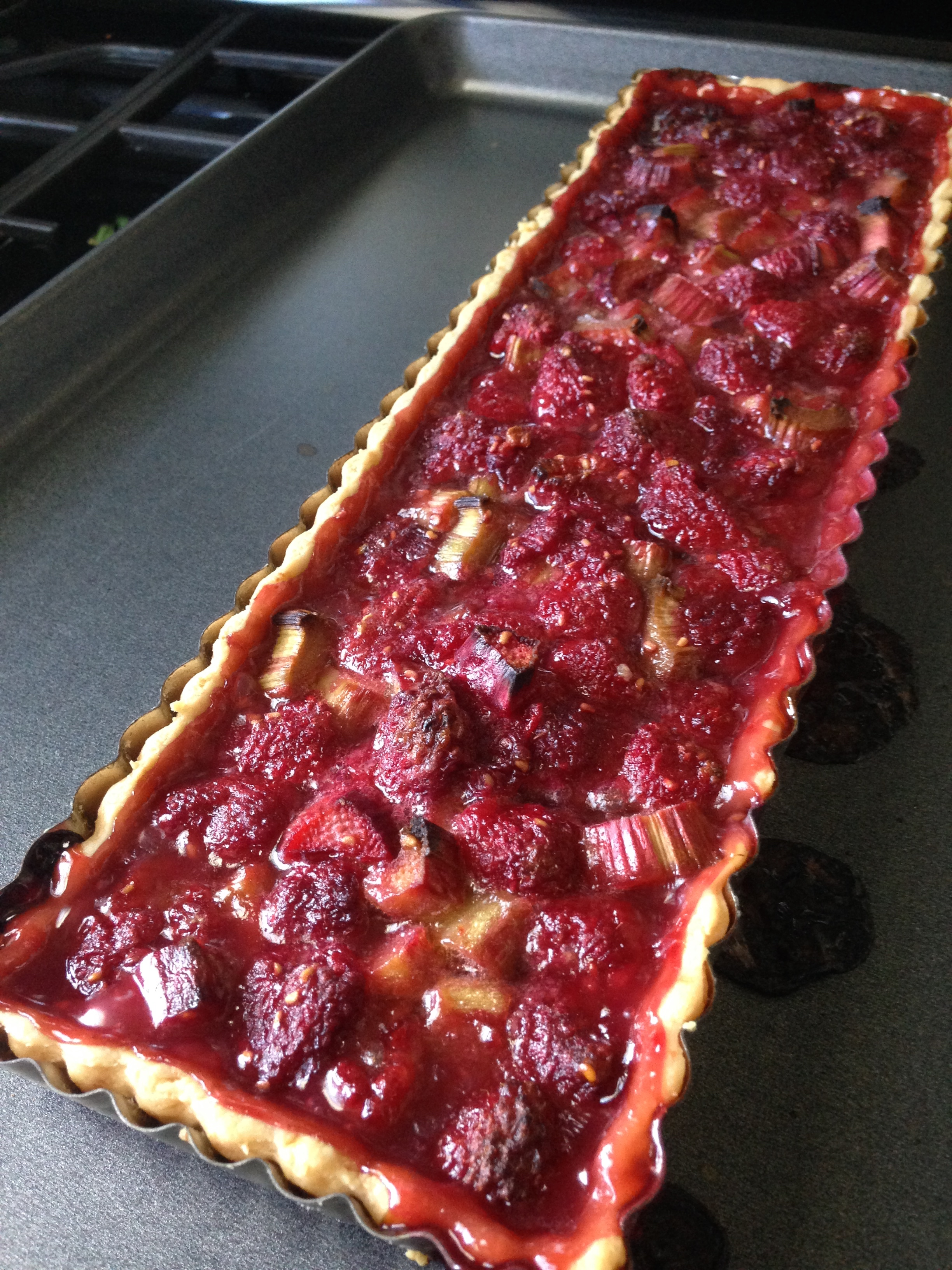 Raspberry and Rhubarb French Tart Fresh out of the oven.