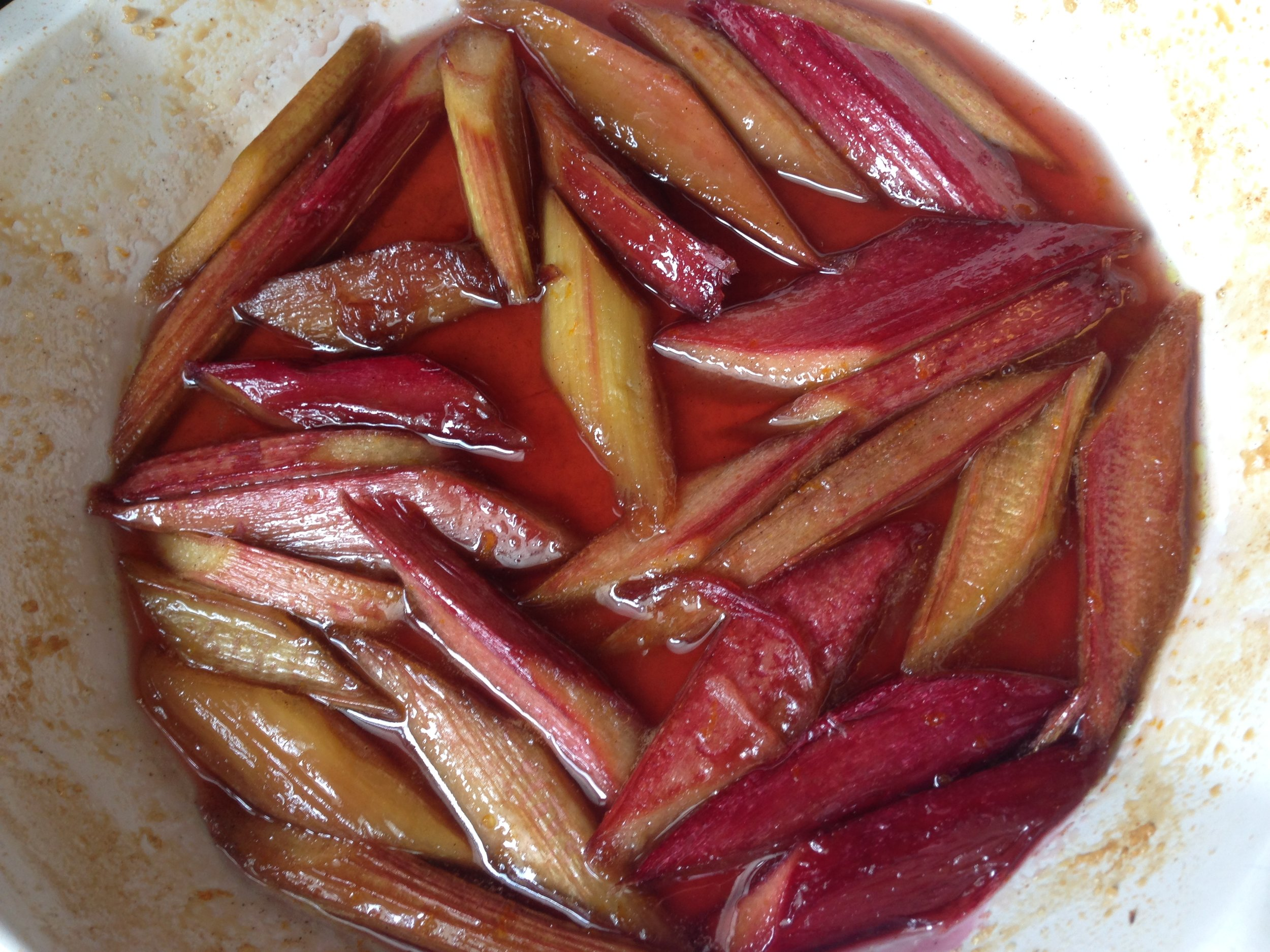 Rhubarb - roasted and cooling fresh out of the oven.