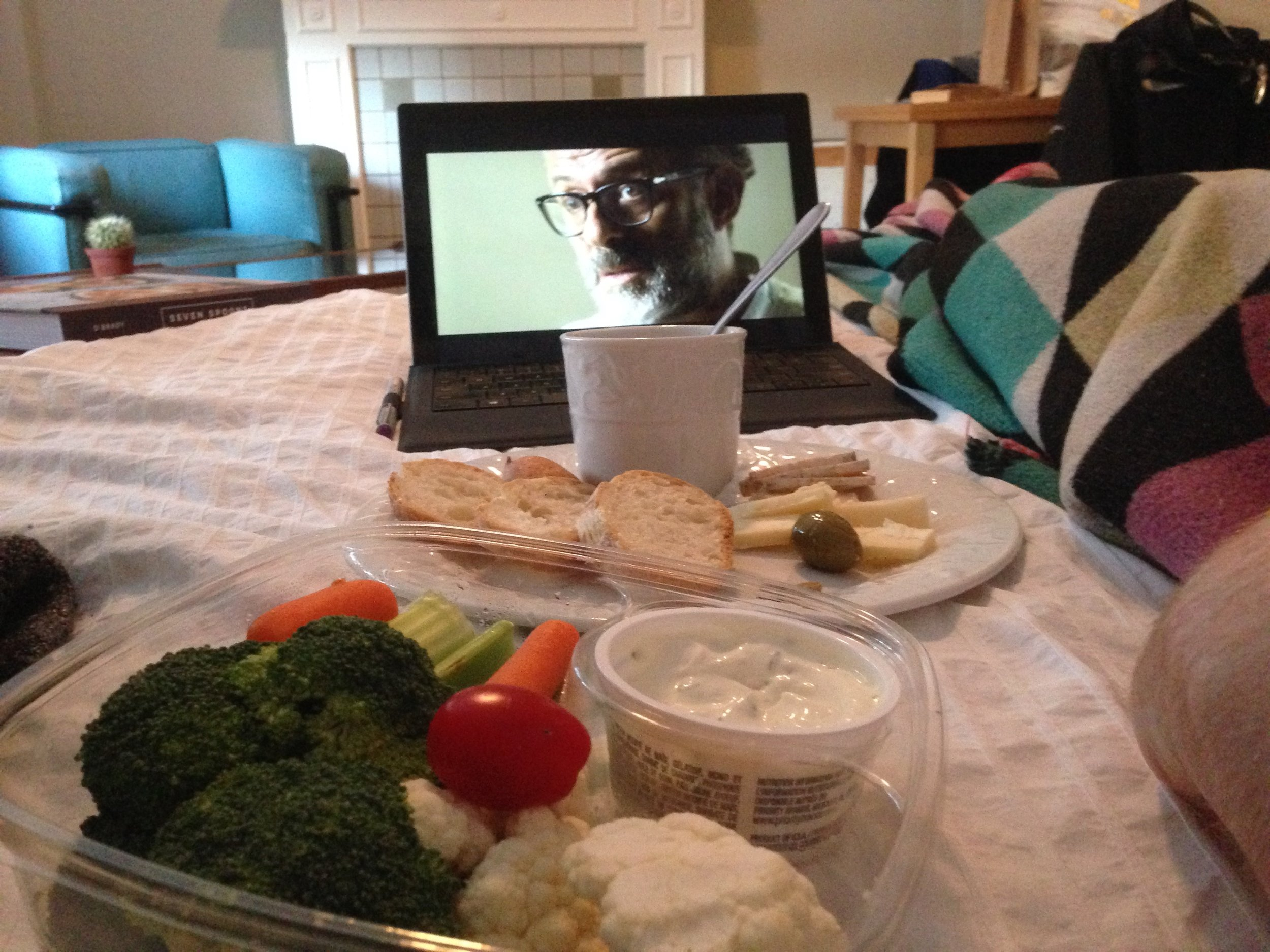 Bed side picnic and binge watching Chef's Table.