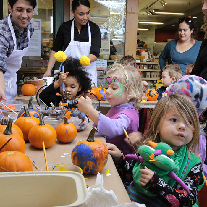 Pumpkin painting at Market Hall Foods, Fourth Street