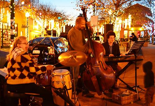 Live jazz with PJay Smik Smak & the Cliffnottes, as we stroll and look at the lights sipping a warm cup of tea, coffee or cocoa, puppet shows and a LED snow fairy on stilts! Fri 11/16 from 5-7pm.