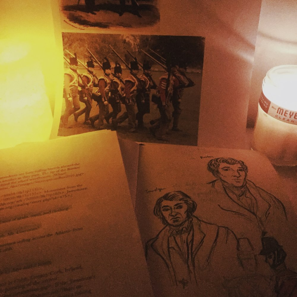 We had a blackout during Winter Storm Stella, so I tried for a while to continue drawing these dudes from the 1800s by candlelight. (I gave up pretty quickly.)