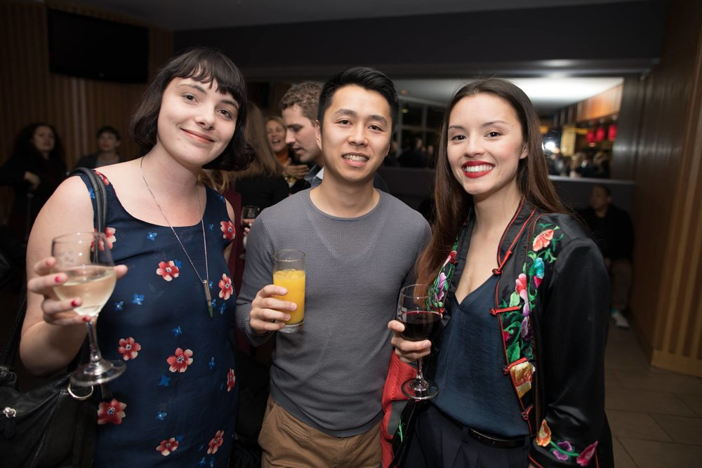 Kelly Gilbride, Calvin Sang and Chye-Ling Huang at the launch of the Loading Docs films for 2017