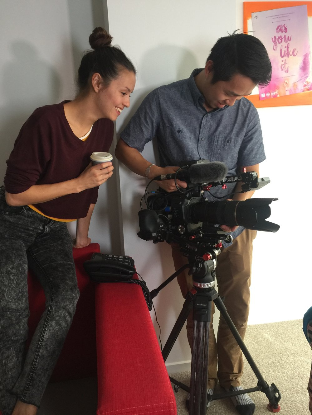 Chye-Ling Huang, director and Calvin Sang, DOP on the set of Asian Men Talk About Sex