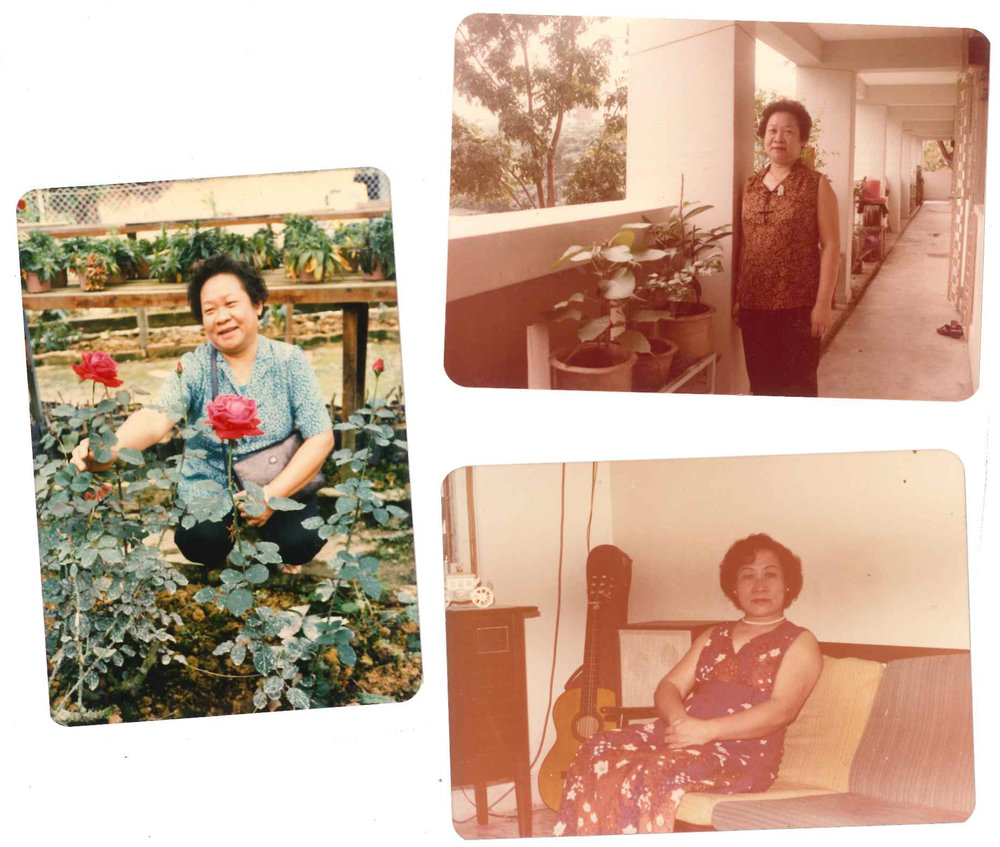 Three photos of Amanda's paternal grandmother Theresa Lim Mong Lan at different times of her life.