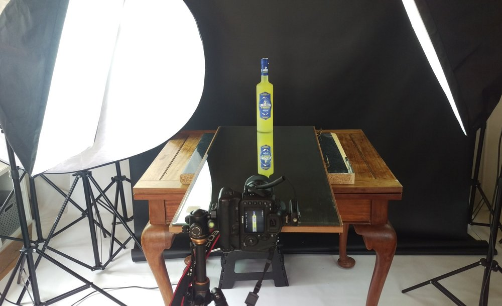 Here is a recent setup for a bottle of alcohol in my studio.
