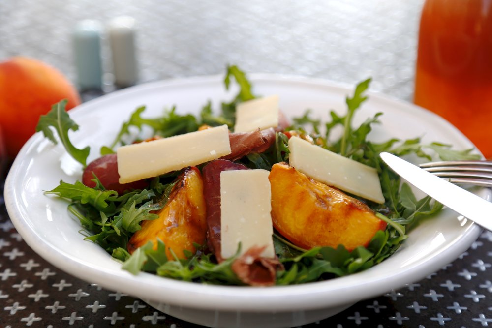 Rucola, Stone fruit & Bresaola: Rucola, grilled peach, bresaola and balsamic dressing topped with parmesan cheese