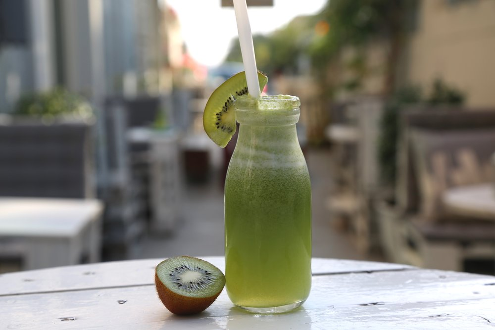 Go Green: Freshly juiced kiwi, green apple and cucumber