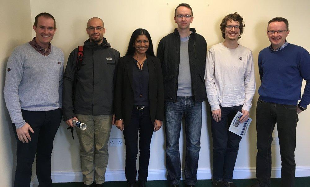From left: Barry Deane (NFGWS), David Ferras, Vanajah Siva, Aonghus Mc Nabola, Daniele Novara (Dwr Uisce, TCD), and Colm Brady (NFGWS), 4th Nov 2016, Tullamore.