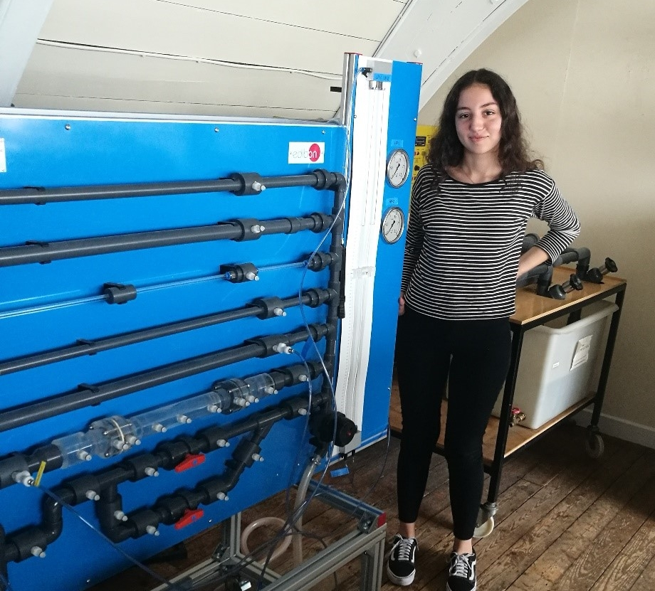 Busra in our hydraulics lab.