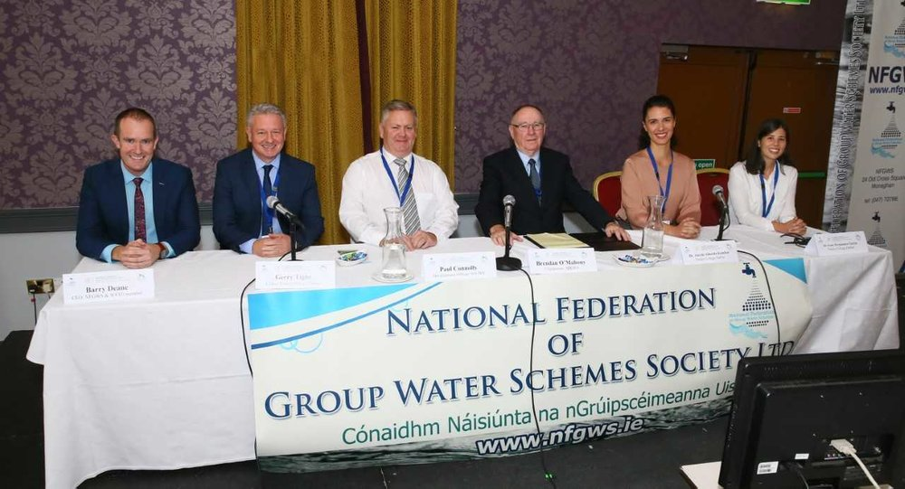 Figure 1. (From left to right): Barry Deane (NFGWS), Gerry Tighe (Carlow Lake GWS), Paul Connolly (NFGWS), Brendan O'Mahony (NFGWS), Ana de Almeida Kumlien (TCD) and Irene Fernández (TCD). Irene and Ana presented talks in Recovering Energy from Water. Ana focused on the work of water and energy community and networks, while Irene focused on the technologies used to recover energy from water.