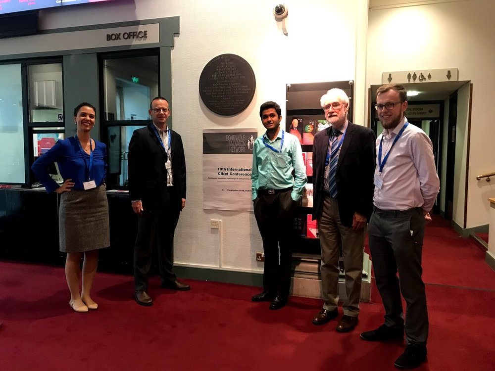 Figure 1.  From left to right, Ana de Almeida Kumlien, Vincent Hargaden, Deepak Doming, Paul Coughlan and Conor Power at the National Concert Hall waiting to welcome the CINet delegation at the conference diner (Monday the 10th September).
