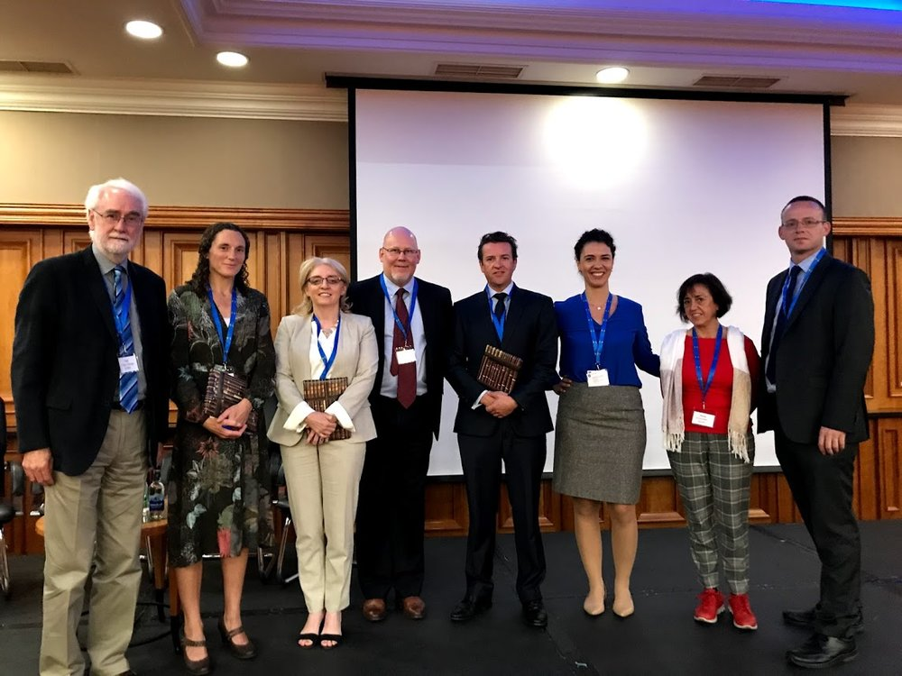 Figure 4.  Plenary speakers and part of organising commit CINet 2018.   From left to right: Paul Coughlan, Majella Murphy, Mary Cronin, Mats Magnusson, John McKeon, María José Oltra Mestre and Vincent Hargaden.