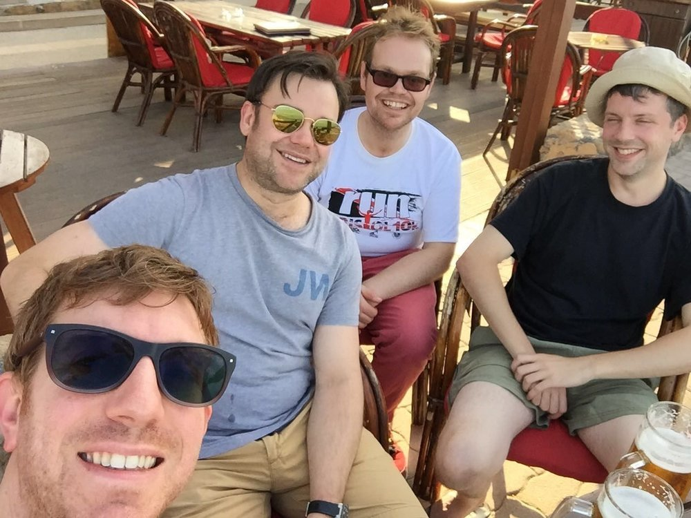 Adam, Chris, Jes and Paul on holiday
