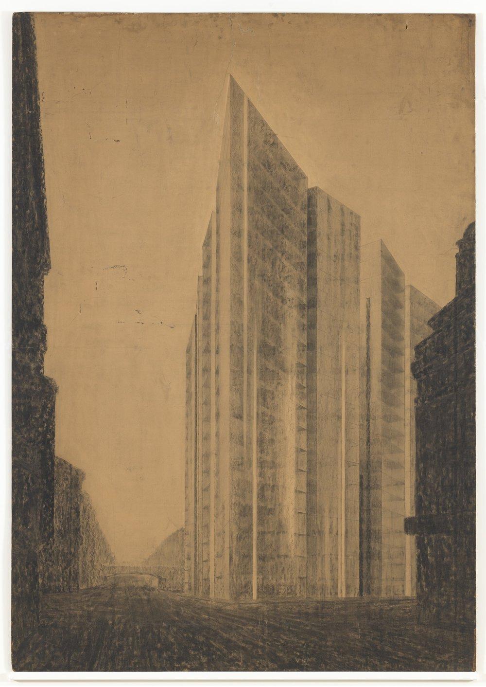 Ludwig Mies van der Rohe, Friedrichstrasse Skyscraper Project, Berlin-Mitte, Germany (1921)