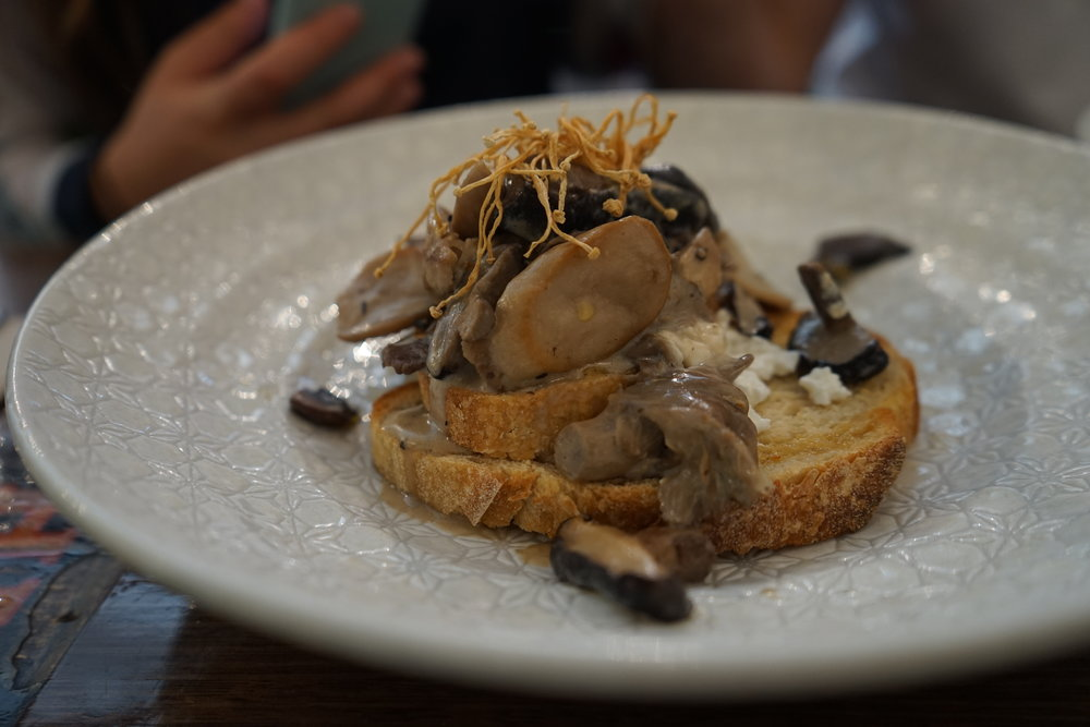 Umami mushrooms on toasted sourdough at Admiral Cheng Ho