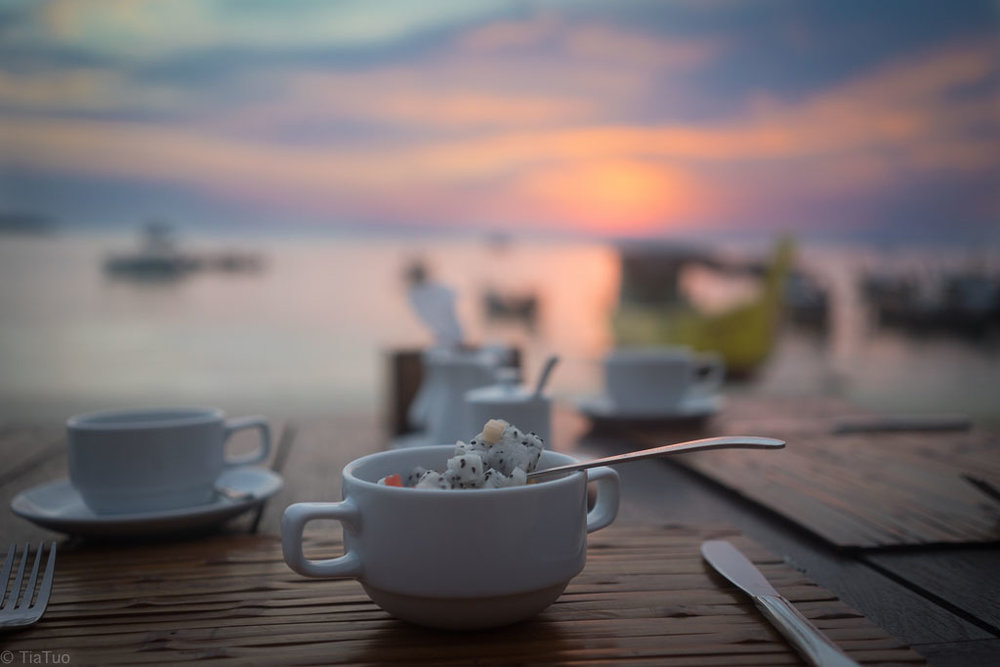 Breakfast on the beach at sunrise