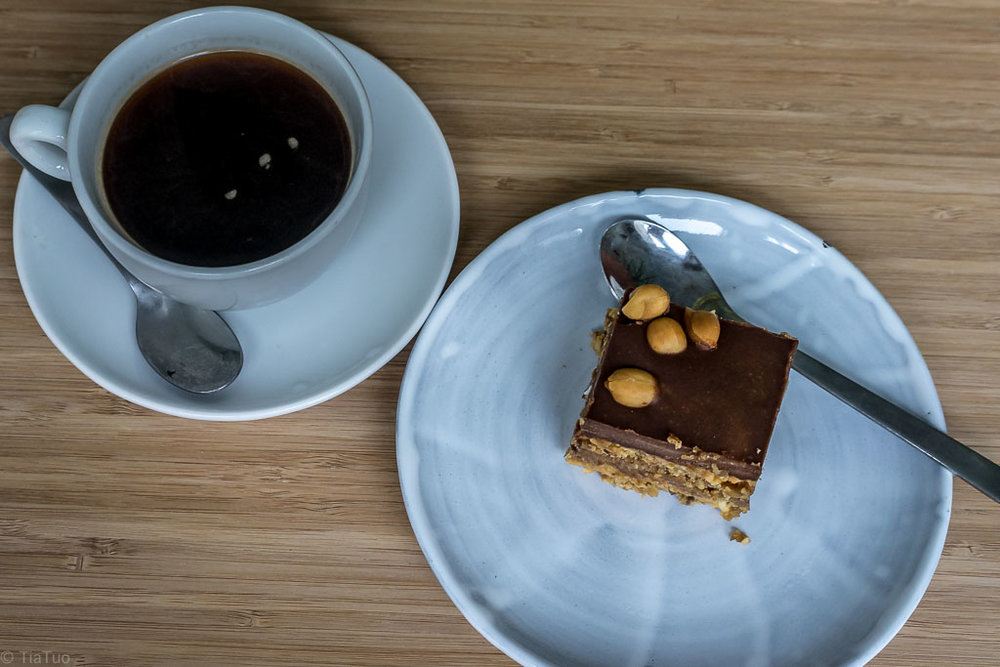 Perfect americano with a rich snickers style raw cake