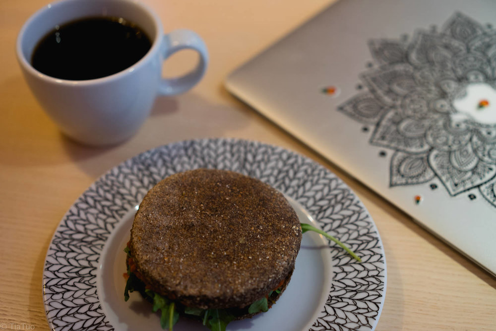 Yummy sandwich and soft fruity coffee. Great fuel for the working day!