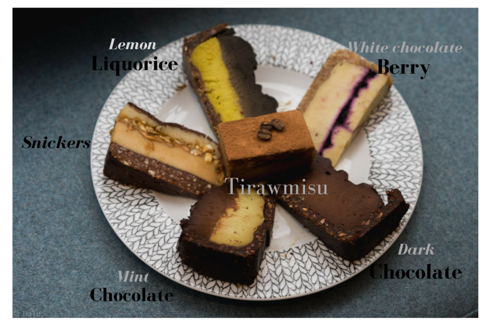 Raw cake assortment