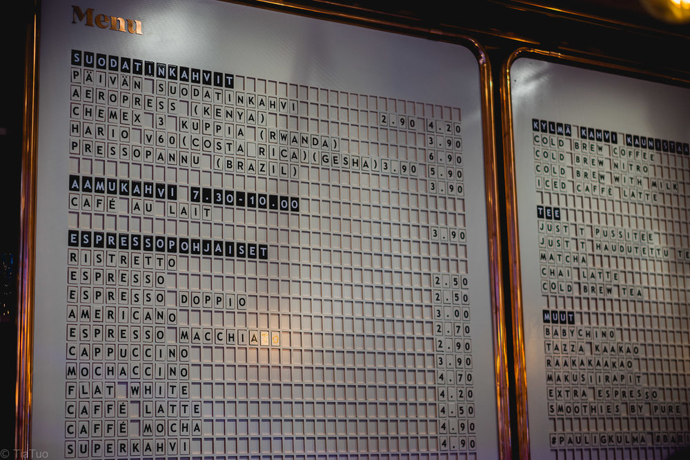 Kitch coppery menu