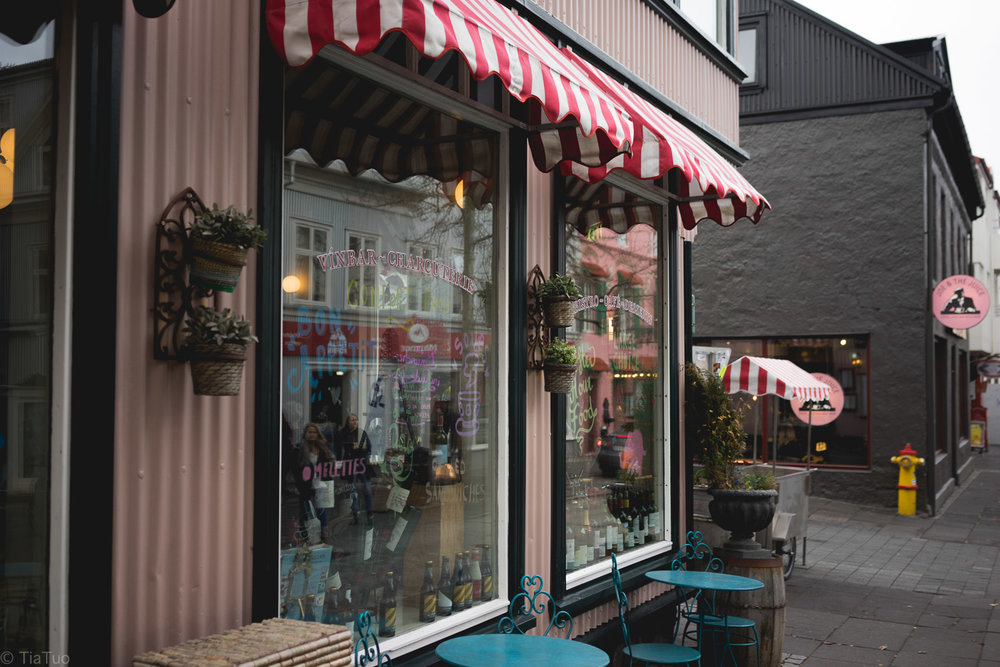 Colourful cafe fronts in Laugavegur