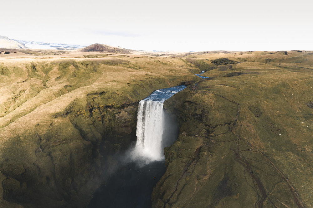 Skogafoss shot with Steve the drone by @snapzak, sorcery was used to remove all the tourists