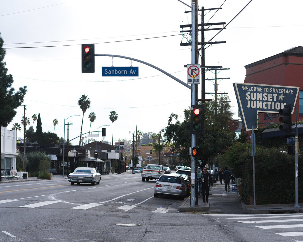 Famous Sunset Junction in Silverlake; not ideal for public transport