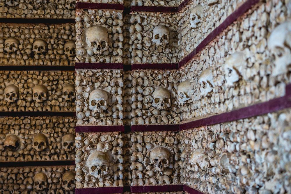 Skulls and bones on a wall in Igreja do Carmo