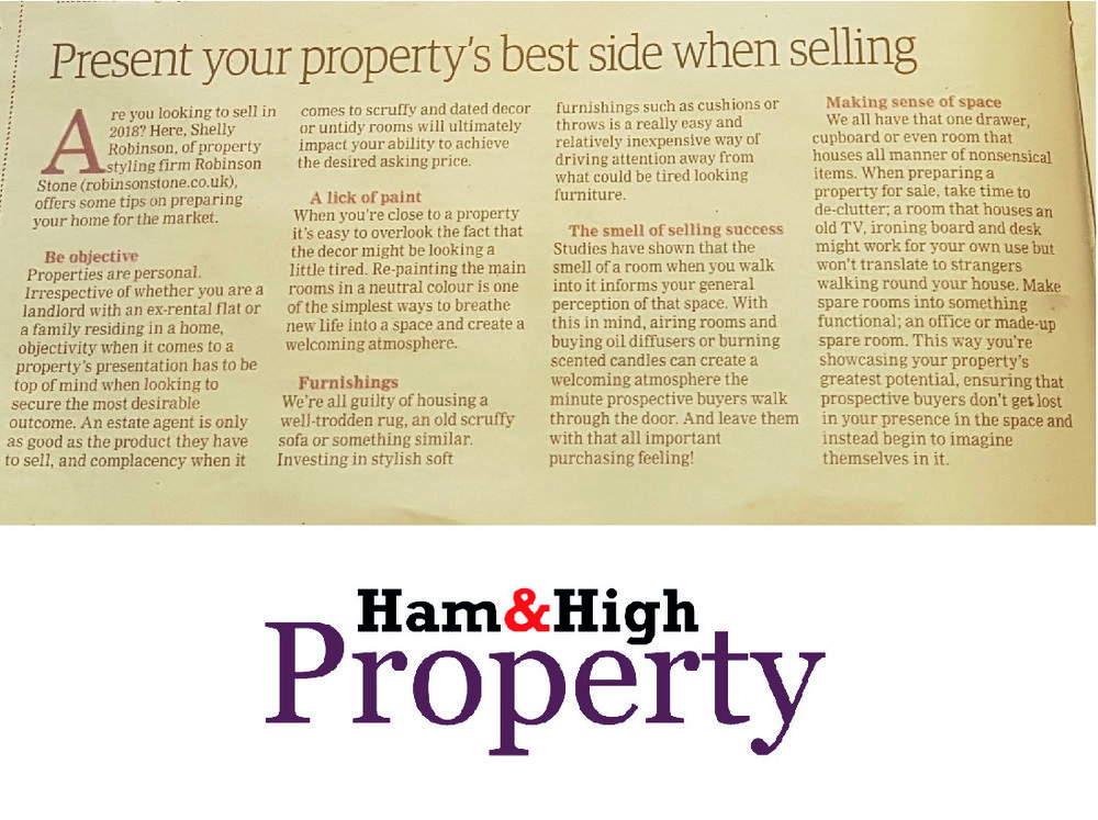 Ham & High Property - Robinson Stone highlight some top tips for preparing your property for sale in 2018.