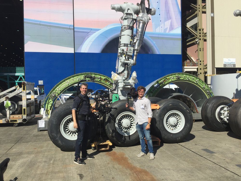 Ian and I are dwarfed by a set of landing gear