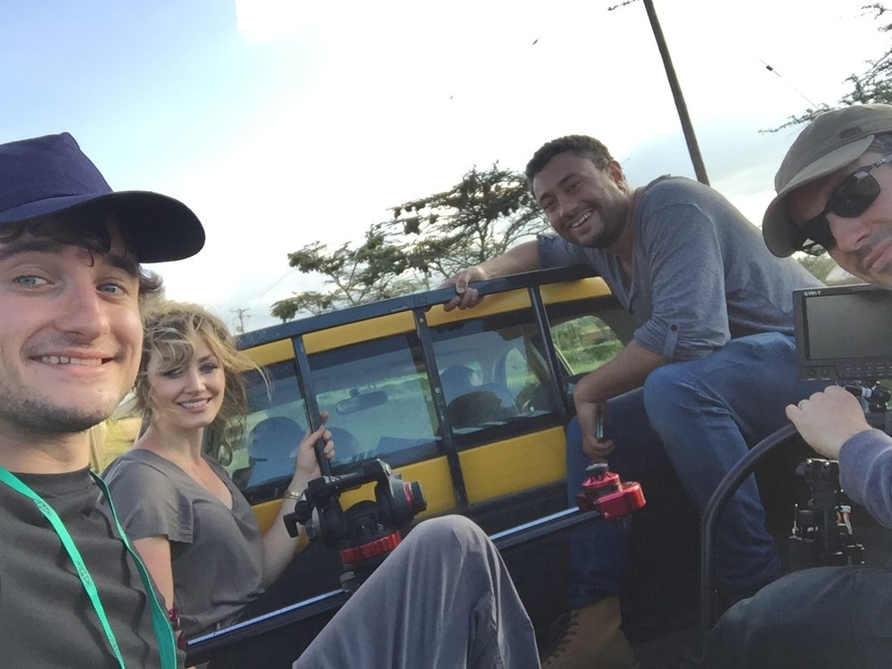 The team on our way around the farm in the truck