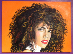 Final oil painting of Alicia Keys titled 'Lellow Fire'
