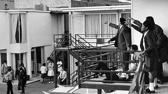 Martin Luther King, Jr. lies at the feet of civil-rights activists pointing in the direction of his assassin. Photo by Joseph Louw.