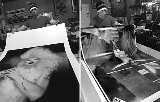 Master printer, Jim Baltutis produced the large prints for the exhibition in Los Angeles.