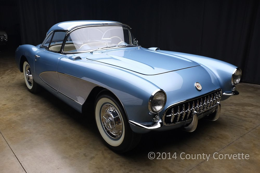 Here is a Concours restored 1957 Corvette. Done in base coat clear coat accurately matching the original Arctic Blue. Thjs type of finish is generally chosen by clients who want a car that looks the best it possibly can. We also improve body gaps and make the body arrow straight.