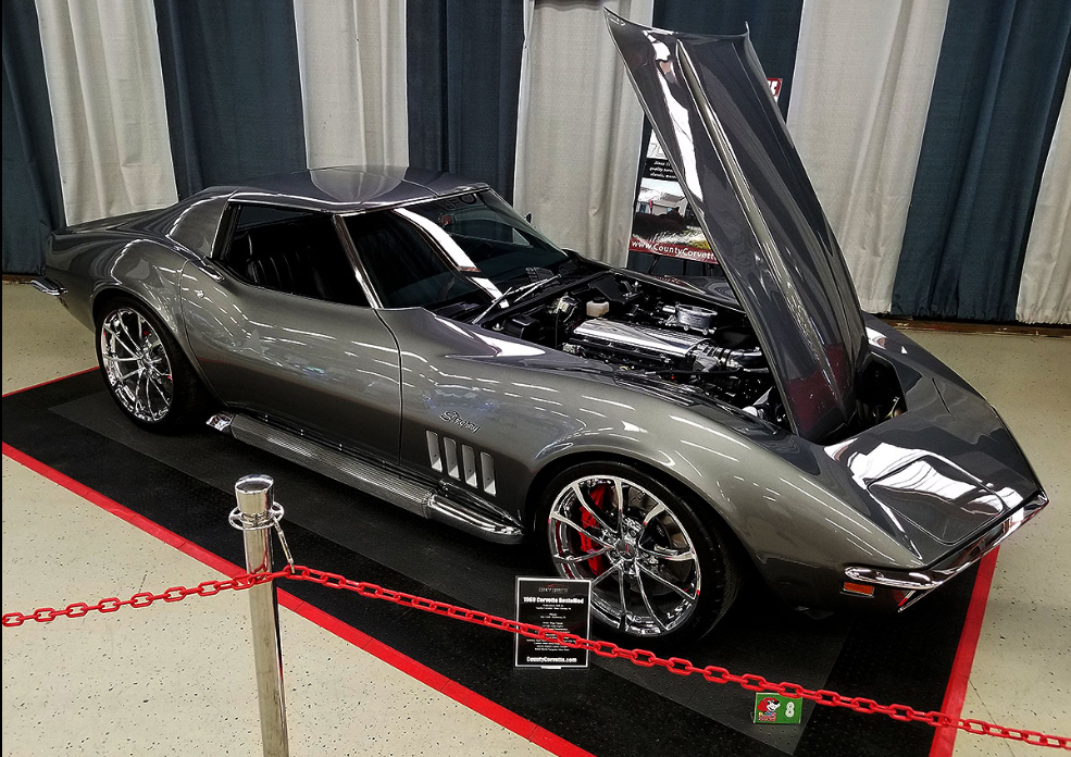 We built this 1969 Corvette RestoMod for a great customer in Texas. Powered by a modified LS7 Crate Engine, Tremec 6-Speed Transmission, C7 Z06 Suspension & Brake System, C7 GS Wheels and finished off in a stunning Aston Martin Tungsten Silver paint job. Lets just say it needs ALL of those 335-series tires to keep it planted!    Click to view more pictures here…