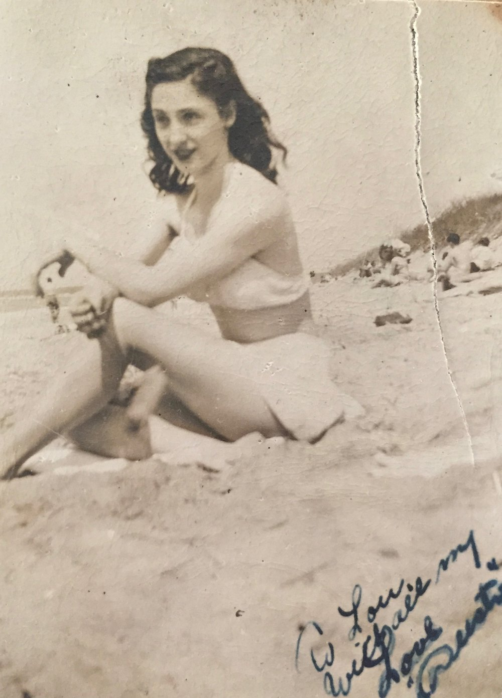 Augusta at the beach, late 1940s early 1950s.