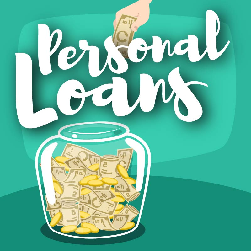 Personal Loans Graphic with Money Jar