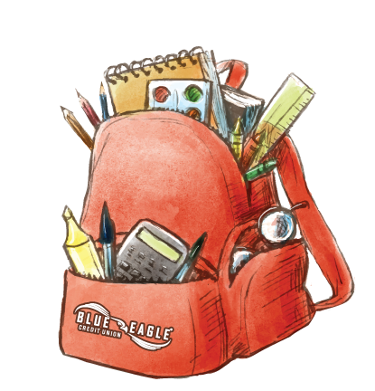 Blue Eagle Credit Union Backpack Overflowing with School Supplies