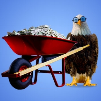 Eagle Carrying Cash Filled Wheel Barrow