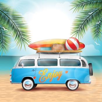 Beach Van with Surfboard and Beach Ball